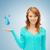 woman showing blue water drops stock photo © dolgachov