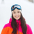 happy young woman in ski goggles outdoors stock photo © dolgachov