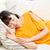 gülen · genç · kız · uyku · kanepe · ev · mutluluk - stok fotoğraf © dolgachov