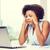 cansado · jóvenes · África · mujer · sesión · mesa - foto stock © dolgachov