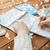 handen · kaart · kompas · schrijven · notebook · winter - stockfoto © dolgachov