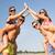 mosolyog · barátok · napszemüveg · nyár · tengerpart · barátság - stock fotó © dolgachov