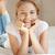 glimlachend · tienermeisje · bed · foto · vrouw · gelukkig - stockfoto © dolgachov