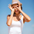 lány · készít · vicces · arcok · tengerpart · nyár - stock fotó © dolgachov