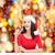 güzel · kadın · kırmızı · Noel · işaret · parmak · uzak - stok fotoğraf © dolgachov