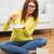 gelukkig · student · meisje · huiswerk · home · onderwijs - stockfoto © dolgachov