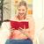 mutlu · gülümseyen · kadın · kitap · parlak · resim · kadın - stok fotoğraf © dolgachov