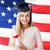 tábla · agglegény · kalap · diploma · amerikai · zászló · oktatás - stock fotó © dolgachov