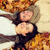 close up of smiling couple lying in autumn park stock photo © dolgachov