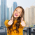 gelukkig · student · meisje · tonen - stockfoto © dolgachov