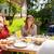 śmiechem · para · jedzenie · obiedzie · wraz · uśmiech - zdjęcia stock © dolgachov