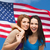 blijde · vrouwen · Amerikaanse · vlag · model · paar · schoonheid - stockfoto © dolgachov