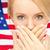 mulher · boca · mão · liberdade · discurso · negócio - foto stock © dolgachov
