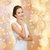 gülümseyen · kadın · beyaz · elbise · elmas · yüzük · Noel · tatil - stok fotoğraf © dolgachov