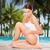 bela · mulher · tocante · quadris · praia · pessoas - foto stock © dolgachov