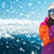happy young woman with snowboard over mountains stock photo © dolgachov