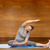 happy woman making yoga and stretching on mat stock photo © dolgachov