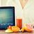 közelkép · nő · táblagép · kalóriák · gyorsételek · emberek - stock fotó © dolgachov