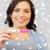 gelukkig · glimlachende · vrouw · home · zwangerschaptest · zwangerschap - stockfoto © dolgachov