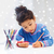 boldog · lány · rajz · ceruzák · otthon · iskola - stock fotó © dolgachov