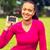 笑みを浮かべて · アフロ · アメリカン · 女性 · スマートフォン - ストックフォト © dolgachov