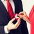 férfi · nő · jegygyűrű · kép · virágok · pár - stock fotó © dolgachov
