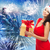happy woman in santa hat with gift over firework stock photo © dolgachov