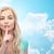mujer · hermosa · dedo · labios · caucásico - foto stock © dolgachov