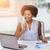 heureux · africaine · ordinateur · femme · bureau · affaires · démarrage - photo stock © dolgachov