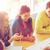 グループ · 笑みを浮かべて · 学生 · 青写真 · 教育 · 学校 - ストックフォト © dolgachov