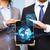 üzletember · táblagép · Föld · hologram · üzlet · globalizáció - stock fotó © dolgachov