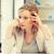 vervelen · moe · vrouw · achter · tabel - stockfoto © dolgachov