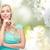 twijfelachtig · glimlachende · vrouw · witte · vrouw · denken · vrouwelijke - stockfoto © dolgachov