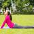 genç · kadın · yoga · mat · spor · salonu · mutlu · spor · uygunluk - stok fotoğraf © dolgachov