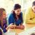 groep · glimlachend · studenten · blauwdruk · onderwijs · school - stockfoto © dolgachov