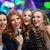 happy young women with microphone singing karaoke stock photo © dolgachov