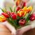 femme · fleurs · jaunes · heureux · fleurs - photo stock © dolgachov
