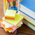 close up of pens books clips and stickers stock photo © dolgachov