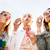 young women or girls blowing bubbles outdoors stock photo © dolgachov