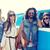 feliz · hippie · amigos · guitarra · carro - foto stock © dolgachov