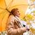 spadek · kobieta · szczęśliwy · deszcz · spaceru · parasol - zdjęcia stock © dolgachov