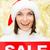 mosolygó · nő · mikulás · segítő · kalap · vásár · felirat - stock fotó © dolgachov