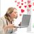 mulher · computador · portátil · virtual · tela · quadro · feliz - foto stock © dolgachov