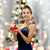 glimlachende · vrouw · rode · jurk · geschenkdoos · christmas · vakantie · viering - stockfoto © dolgachov