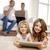 kinderen · spelen · video · games · ouders · kijken · woonkamer - stockfoto © dolgachov