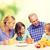 glückliche · Familie · zwei · Kinder · Frühstück · Essen · Familie - stock foto © dolgachov