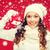 gülümseyen · kadın · eldiveni · şapka · Noel · noel · kış - stok fotoğraf © dolgachov