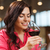 mosolygó · nő · iszik · vörösbor · étterem · szabadidő · italok - stock fotó © dolgachov