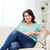 happy young plus size woman at home stock photo © dolgachov