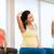 terhes · nő · nyújtás · fitnessz · labda · előad · láb - stock fotó © dolgachov